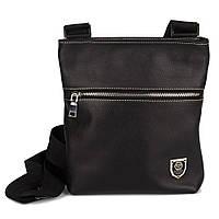Кожаная мужская сумка через плечо черная 0019