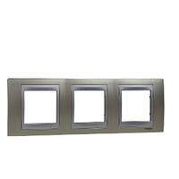 Рамка 3-мод Schneider Electric Unica Титановый/Алюминий (MGU66.006.095)