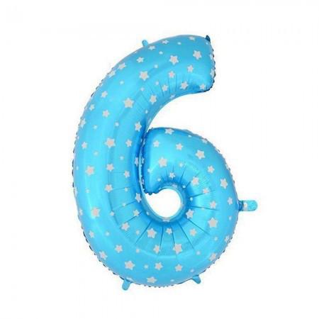 Шарик Цифра голубой (80см) 6
