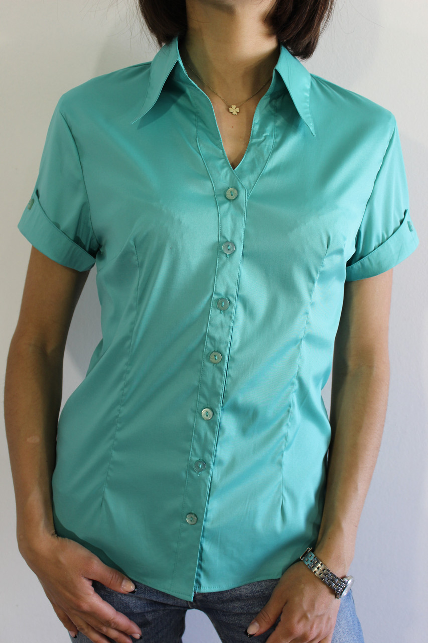 d423d67aac1 Рубашка женская бирюзовая 3236 - купить по низкой цене. Код 706559155