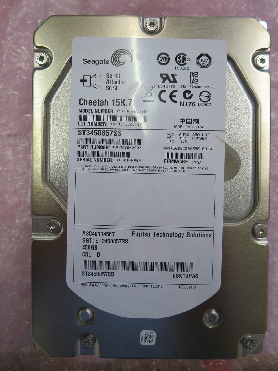 Жесткий диск HDD Seagate 450GB ST3450857SS 3.5 SAS для серверов бу