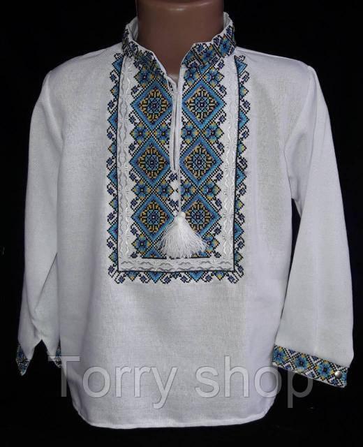 Мальчуковая вышитая рубашка на домотканном полотне, рост 152-170 см