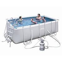 Каркасный бассейн Bestway 56457 (4,12 х 2,01 м, прямоугольный) c песочным фильтром