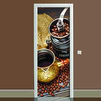 Наклейка на дверь Кофе 01, (полноцветная фотопечать, пленка для двери)