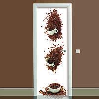 Наклейка на дверь Кофейные чашки, (полноцветная фотопечать, пленка для двери)