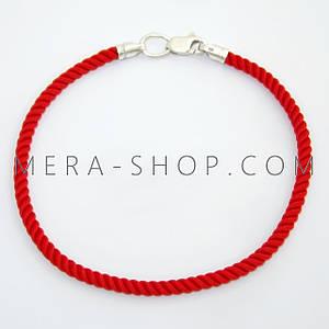 Красный шелковый браслет (⌀3,0 мм) серебряный замок