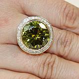 Кольцо с зеленым камнем и камешками Swarovski, фото 2