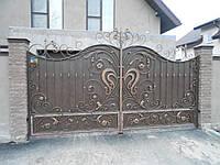 Ворота распашные металлические кованые №4