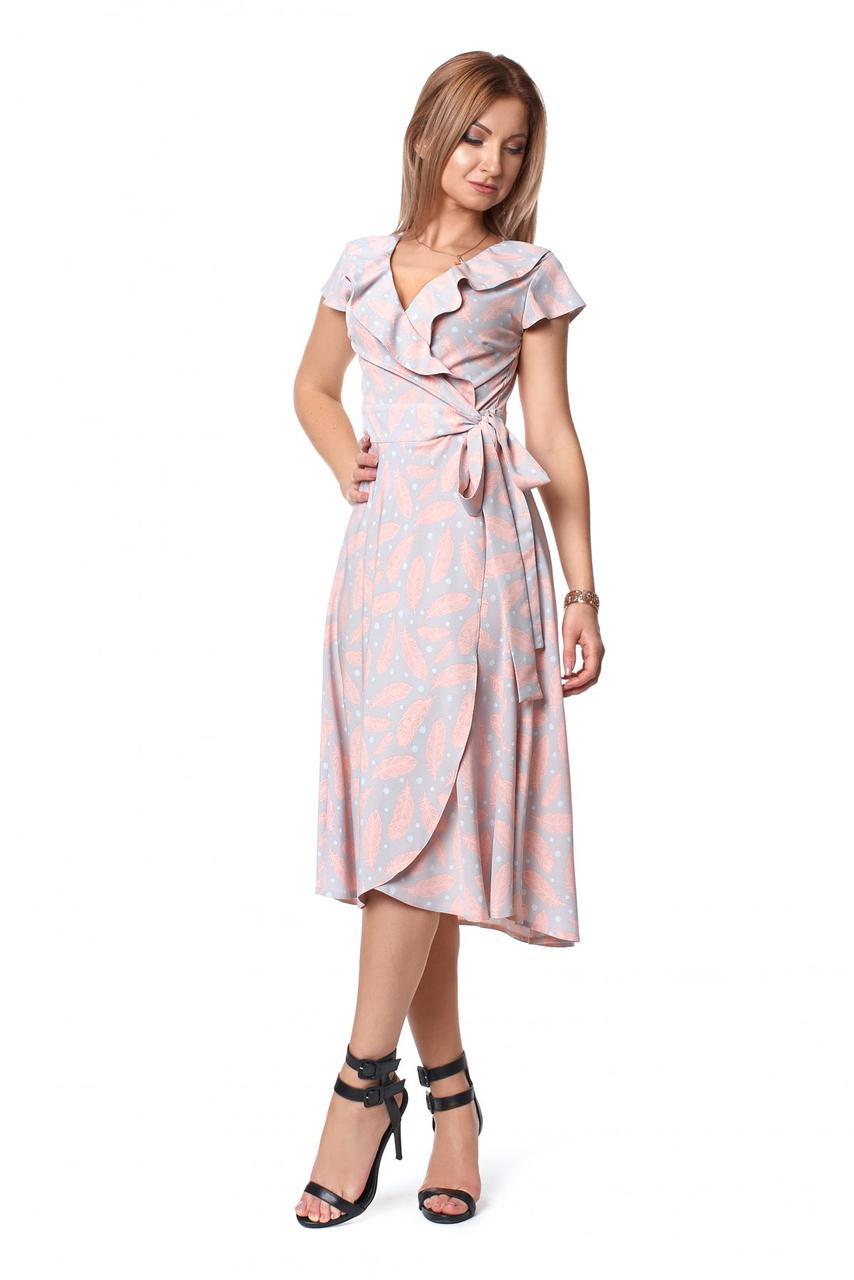 Летнее романтичное платье миди с рюшами