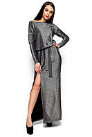 Вечернее платье макси с разрезом приталенное длинный рукав люрекс черное