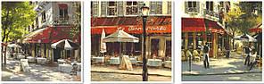 Триптих по номерам на холсте Триптих Летние кафе Худ. Хейтон Брент (VPT003) 50 х 150 см DIY Babylon