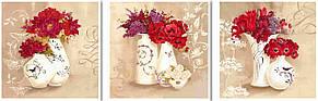 Картина по номерам триптих Красные букеты худ Уайт Кэтрин (VPT004) 50 х 150 см DIY Babylon