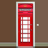 Наклейка на дверь Телефонная будка, (полноцветная фотопечать, пленка для двери)
