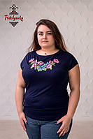 Жіноча блуза Крокуси на темно-синьому, рукав-кімоно, фото 1