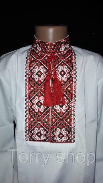 Мальчуковая вышитая рубашка на поплине, рост 110-152 см