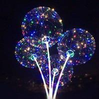 Воздушный светодиодный шар круглый с наполнением (конфетти)