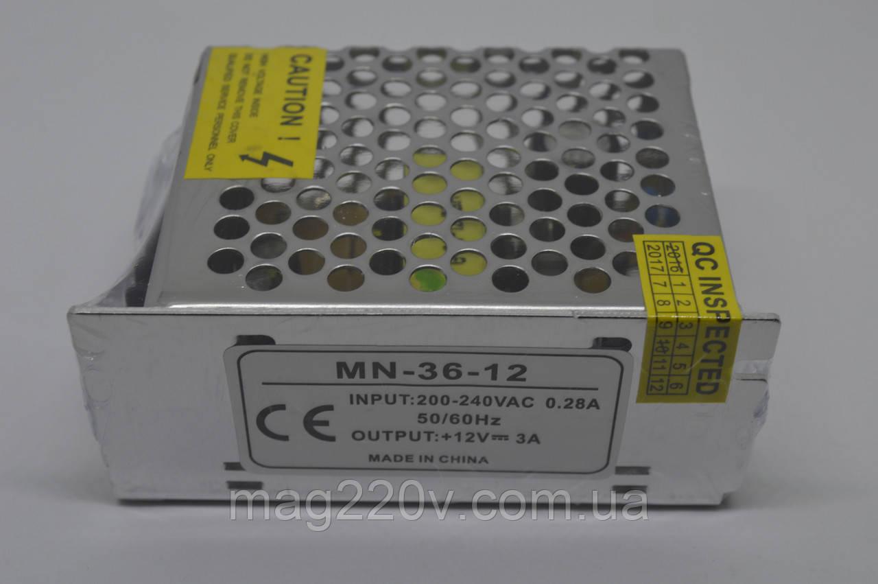 Импульсный блок питания 12В 3А (для светодиодной ленты)