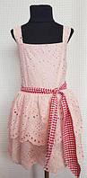 Летнее нарядное платье сарафан для девочки пудра Ангелина 122,128,134см пояс-бант прошва+трикотаж подкладк