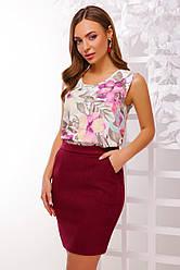 Нарядная летняя блузка без рукавов принт розовые цветы