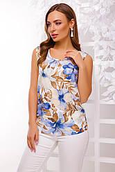 Летняя легкая блуза без рукавов принт голубые цветы