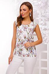 Легкая летняя прямая блузка без рукавов принт белая магнолия