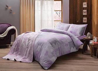 Двуспальное евро постельное белье TAC Shelly Lilac Ранфорс + плед