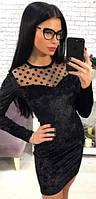 Платье бархатное с сеткой  аан1036