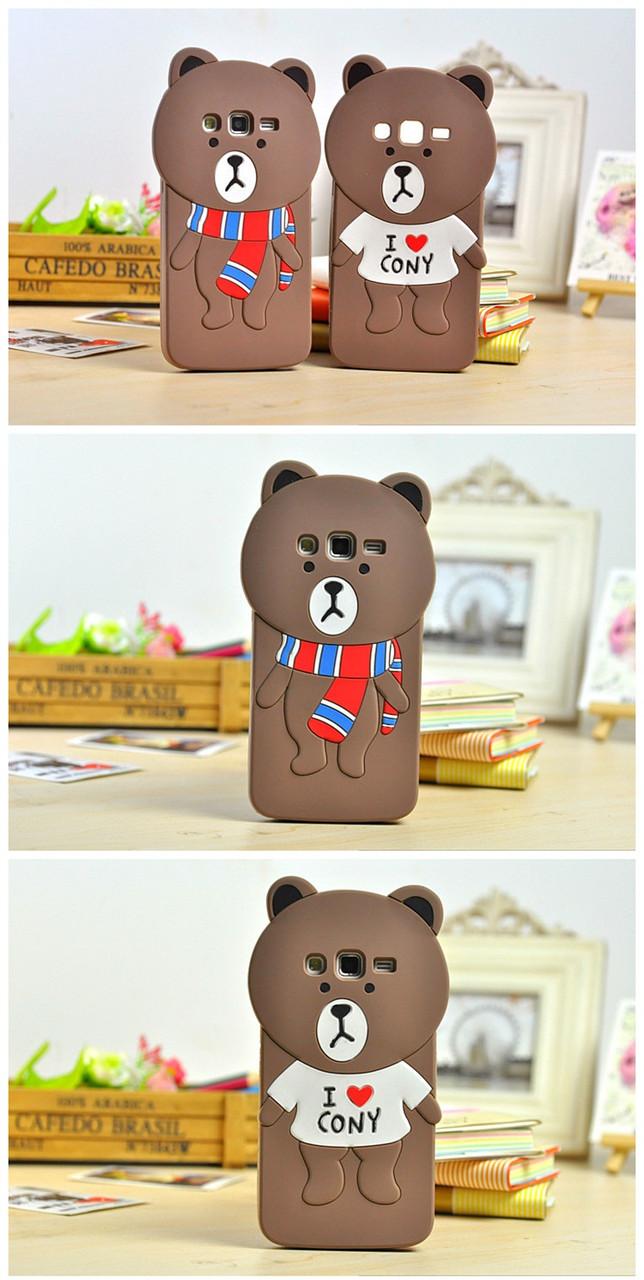 """Samsung G7102 GRAND 2 GALAXY Оригинальный ПРОТИВОУДАРНЫЙ чехол накладка для телефона TPU """" 3D МЕДВЕДЬ """""""