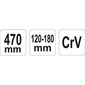 Ключ гаковий з носиком на шарнірі в діапаз. M= 120-180 мм, Хр-Ванад., L= 470 мм, YT-01674 YATO, фото 2
