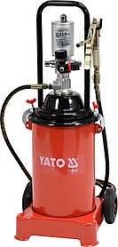 Мастильний апарат пневматичний, з бачком- 12 л, для тиску- 0,8 MPa, тиск на виході- 300-400 Bar, YT-07067 YATO