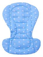 Чехол вкладыш на стульчик для кормления из хлопка, в коляску Голубой с белыми звездами