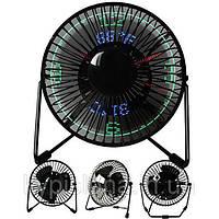 Настольный вентилятор с LED-часами и термометром