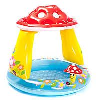 """Бассейн Intex детский""""Гриб"""" с навесом 102*89см (57114), для дачи, надувной, летний, для детей"""
