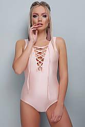 Женский модный цельный купальник с завязками на груди В-195 цвет пудра