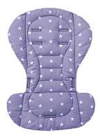 Чехол вкладыш на стульчик для кормления из хлопка, в коляску Серый с белыми звездами