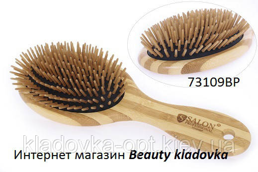 Расчёска массажная Salon Professional 73109BP дерево, фото 2