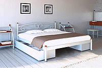 Кровать металлическая с двумя ящиками Вероника Белый Бархат 140*190 (Металл дизайн)