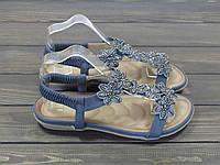 Женские босоножки на мягкой подошве с ортопедической стелькой синие, фото 1