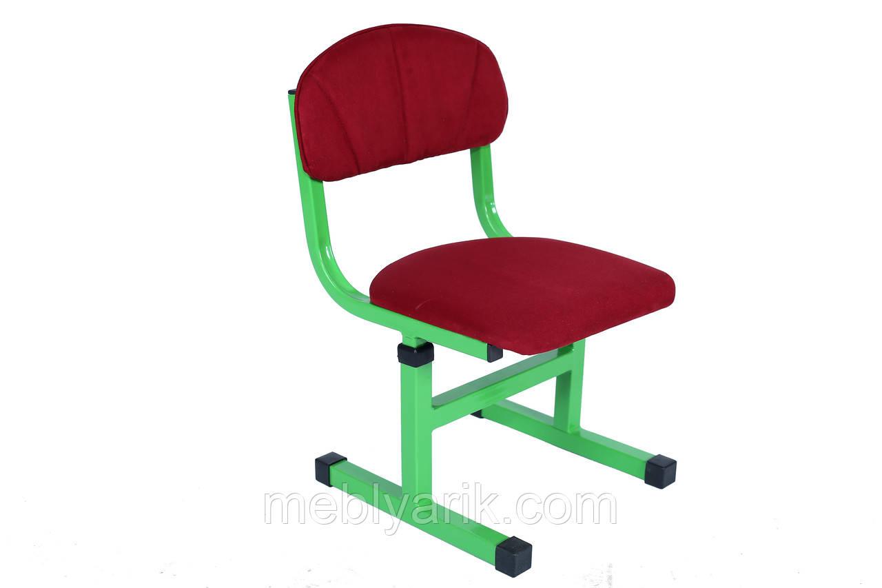 Стул детский на металлическом каркасе регулируемый по высоте с мягкой спинкой и сиденьем