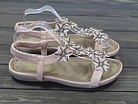 Женские розовые босоножки низкий ход, фото 1