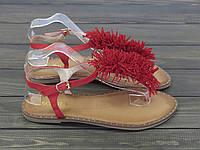 Женские босоножки низкий ход  красные, фото 1