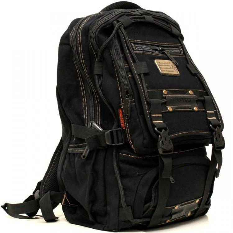 Джынсовый городской мужской рюкзак GOLD BE  98209 черный ( 50х30х20 см.  30 литров)