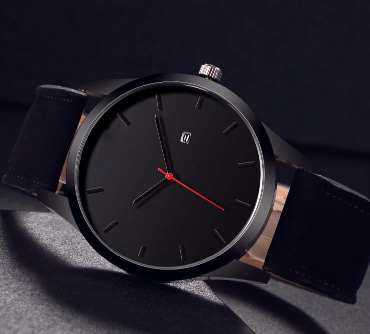 Мужские наручные часы с черным циферблатом и черным ремешком,Чоловічий наручний годинник
