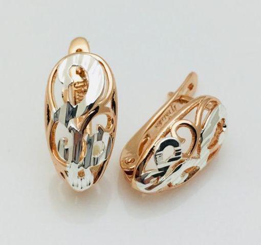 Сережки Fallon Овальні з візерунком позолота 18К