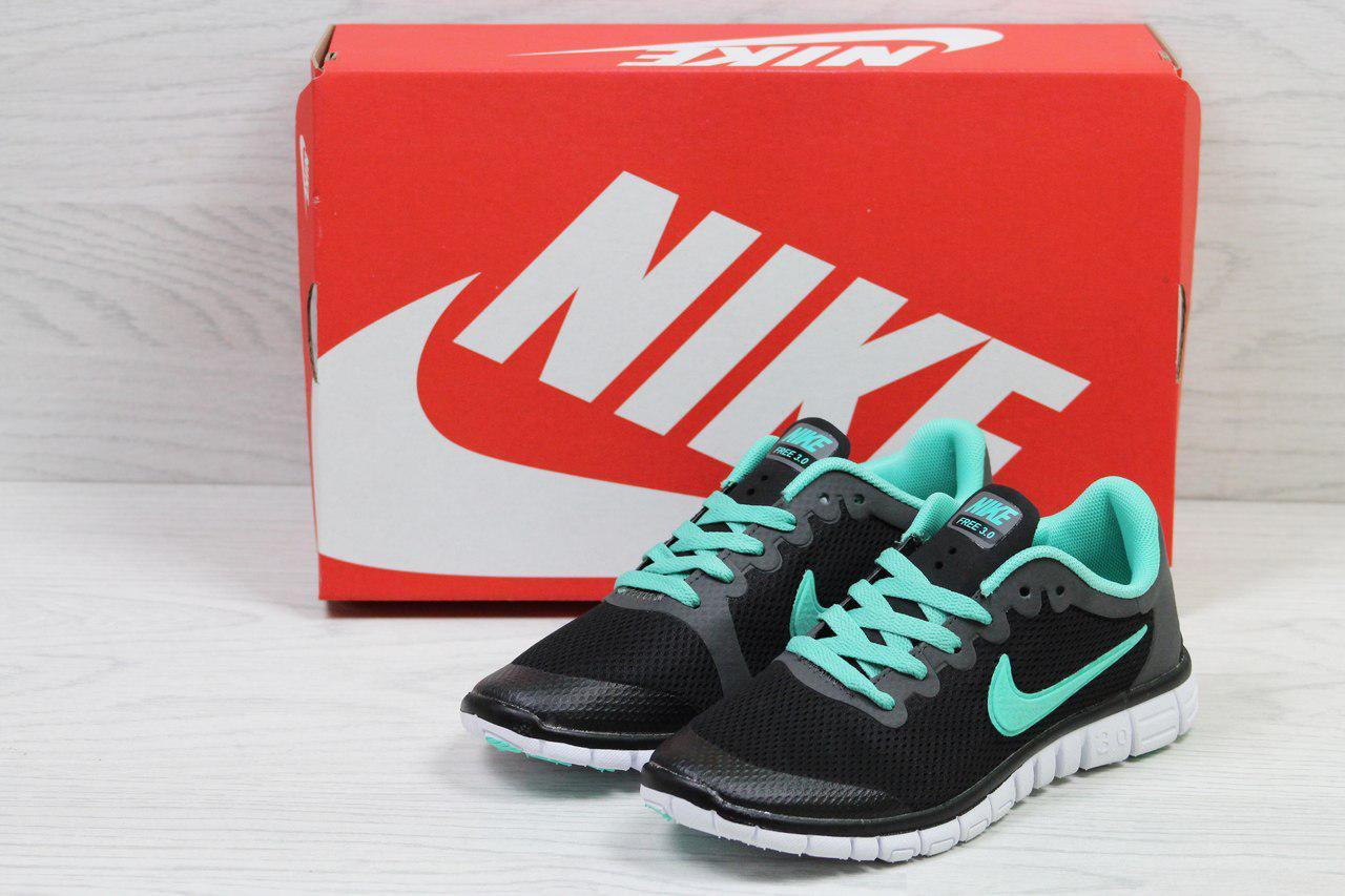 Кроссовки женские  Nike Free Run 3.0 весенние стильные повседневные (черные с мятой), ТОП-реплика