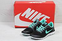 Кроссовки женские  Nike Free Run 3.0 весенние стильные повседневные (черные с мятой), ТОП-реплика, фото 1