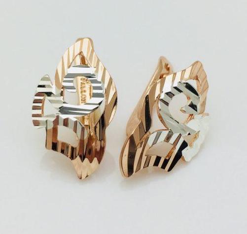 Сережки Fallon з рифленням позолота 18К