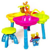 Столик песочный с лодочкой, стульчиком и пасками, 01-122