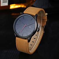 Мужские наручные часы с черным циферблатом и коричневым ремешком