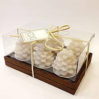 """Набор свечей в упаковке """"Шишка белая"""" (диаметр 4 см.)"""